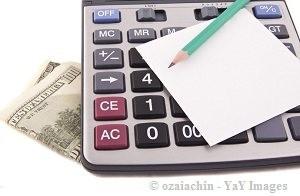calculator, money, paper and pencil