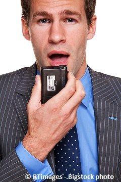 businessman recording transcription