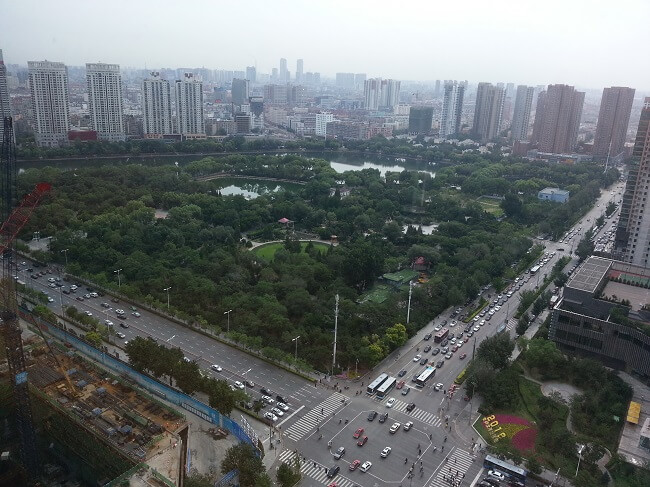 View from the restaurant of the Grand Hyatt hotel in Shenyang, China