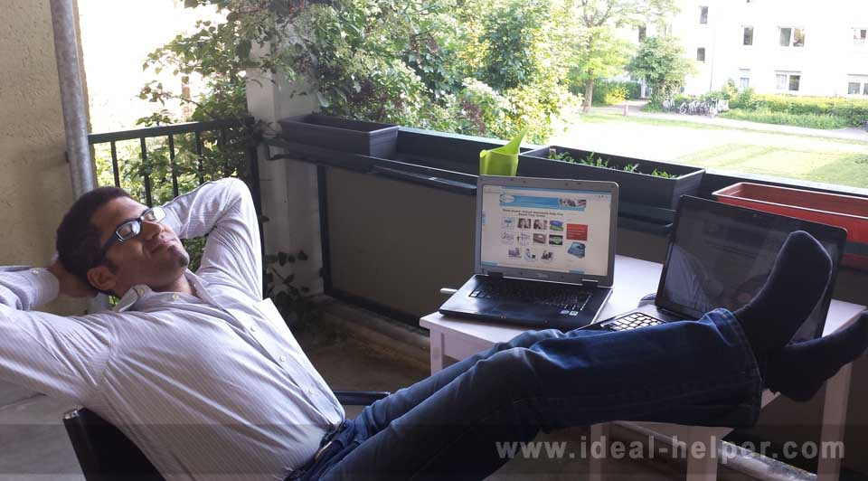 Francis relaxing on his balcony while his team of virtual assistants work