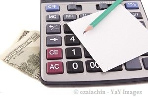 calculator, money, paper and pencil