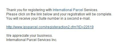 Ips Email confirmation
