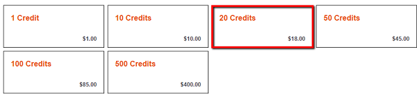 Click on buy credits and add 20 credits to cart
