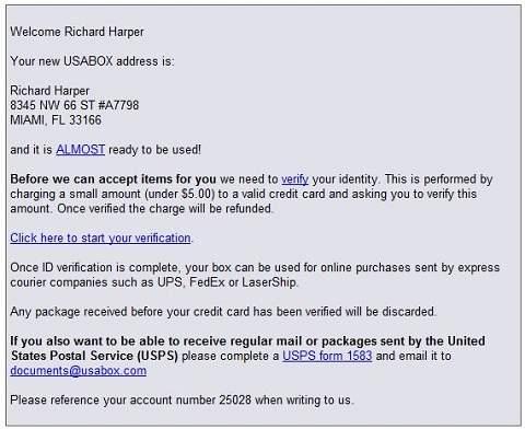 USAbox address confirmation Email