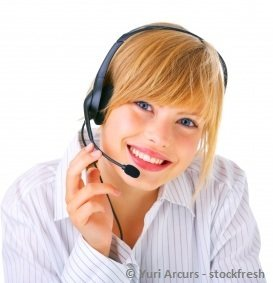 young virtual assistant girl wearing a headset