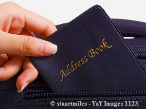 Address book in blue color