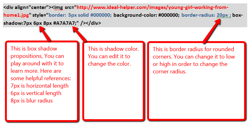 Image II: HTML Code Explanation for Editing Image Shadow