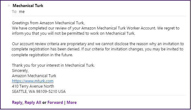 Mechanical Turk Email Template