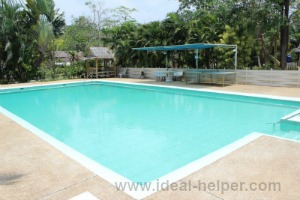 A view of swimming pool from the Stefan's home in the Thailand