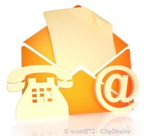 email, phone and letter icon