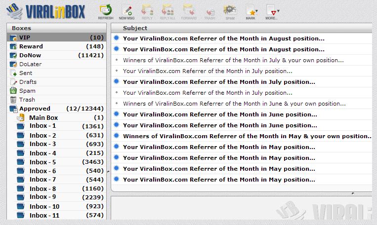 A screenshot from the ViralInbox Interface