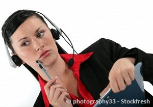 Virtual assistant girl doing transcription