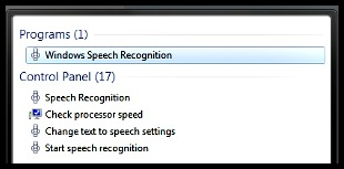 To find the program type Speech Recognition into the Windows 7 Search Field