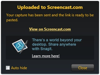 Jing upload success notification