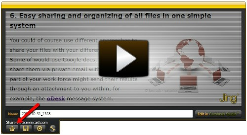 Share Jing videos via screencast