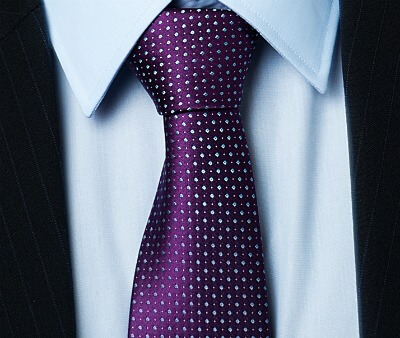 Purple Tie with white dots blue shirt and suit