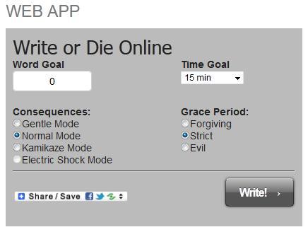 Write or Die Web App