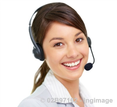 Virtual assistant girl with a headset