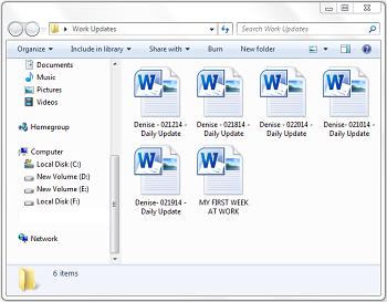 A screenshot from my virtual assistant's work updates folder