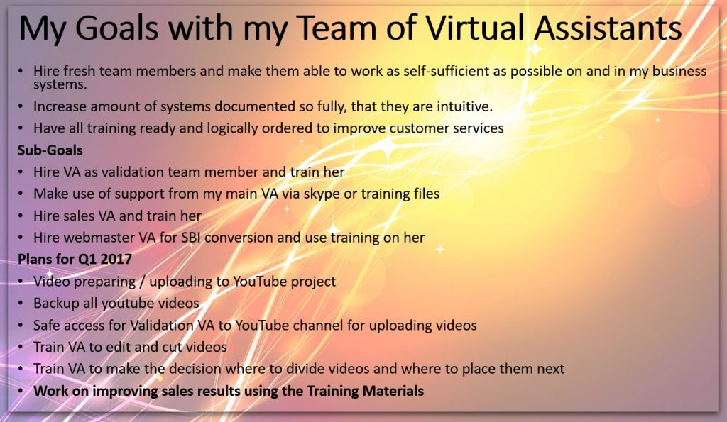 My goals for the first quarter of 2017 for my business with the help of my Virtual Assistant team
